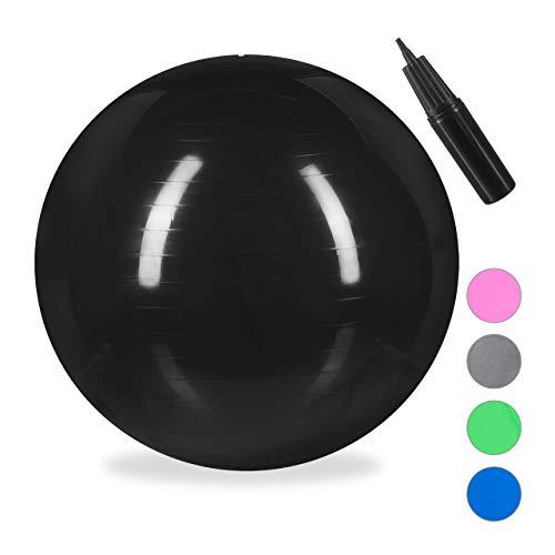 Relaxdays Unisex– Erwachsene Gymnastikball, Fitnessball Yoga & Pilates, Sitzball Büro, Balance Ball inklusive Luftpumpe, Ø 85 cm, schwarz, 1 Stück
