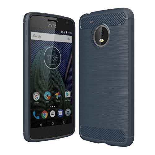 Xyamzhnn Funda telefónica para Motorola Moto G (5th Gen.) Fijas de Fibra de Carbono cepillada TPU TPU Funda Protectora (Negro) (Color : Blue)