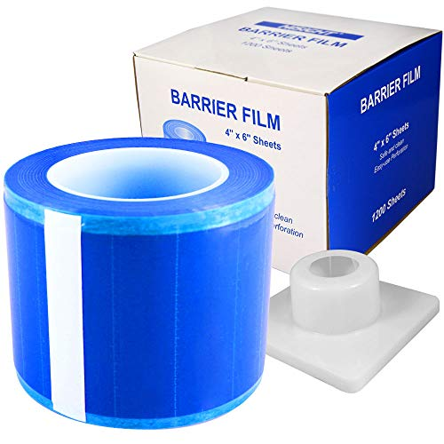 Barrier Film Roll Tape Blue 4' x 6' 1200 Sheets for Dental, Tattoo and Makeup Microblading, with Dispenser Box (600ft)