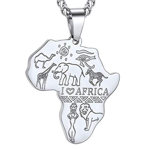 GoldChic Jewelry Colgante Personalizable Ojo de Horus Animal Salvaje Elefante Leon Jirafa Camello Cebra I Love Africa Cadena Acero Inoxidable Hombre Mujer Regalo