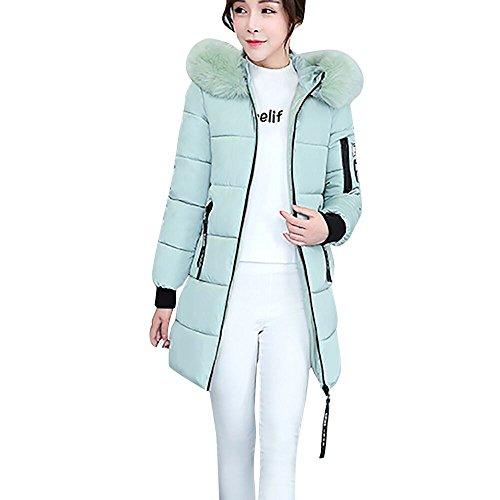Briskorry Damen Jacke Steppjacke Herbst Winter Übergangsjacke gesteppt Frauen-Oberbekleidung-Knopf-Mantel-Lange Baumwolle-aufgefüllte Jacken-Taschen-Pelz-mit Kapuze Mäntel