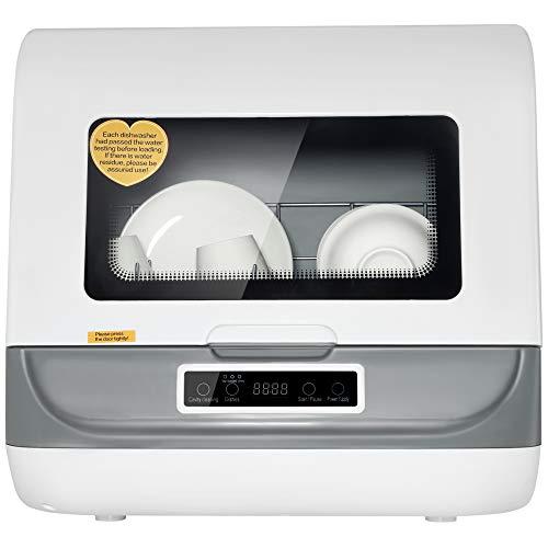 Vogvigo Lavavajillas portátil de encimera, lavavajillas compacto con tanque de agua integrado de 5 L y manguera de entrada, función de secado al aire