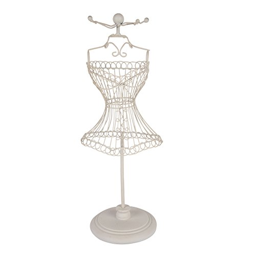 NIKKY HOME White Metal Wire Frame Vintage Mannequin Jewelry Earring Necklace Stand Display - 4 Hooks
