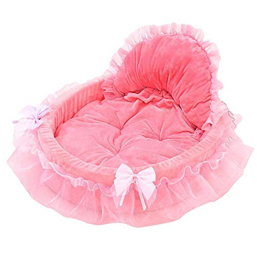 YING Luxuxspitze-Kennel Pet-Bogen-Spitze Prinzessin Bett Verbessern Schlaf Elliptical Princess Nest-Hundebett,Rosa