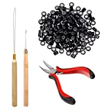 Orgrimmar Hair Extension Tool Kit Hair Extension Remove Pliers Pulling Hook 500 PCS Micro Silicone Rings Bead Device Tool Kits for Professional Hair Styling Tools Accessory