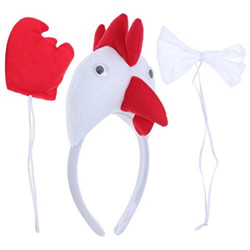 PRETYZOOM Kinder Tier Kostüme Set Huhn Kopf Stirnband Tier Schwanz Fliege für Karneval Coaplay Party Kostüme 3 Stück (Weiß)