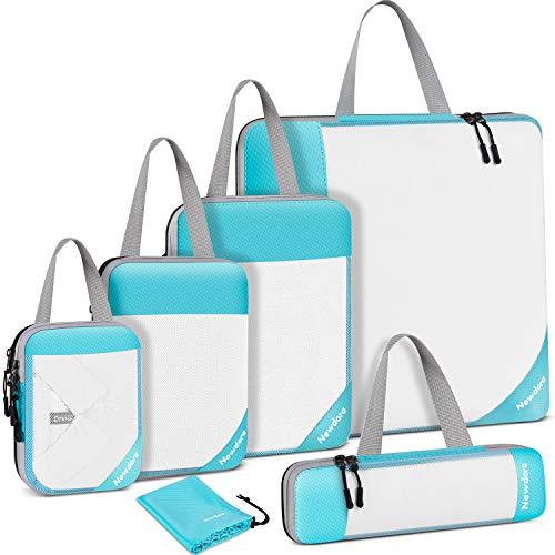 Newdora 6 Set de Organizador de Equipaje Impermeable Organizador de Maleta Bolsa para Ropa Sucia de Viaje, Azul Cielo