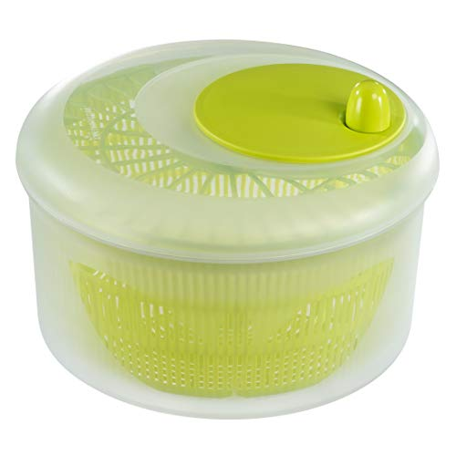 Xavax Salatschleuder mit Kurbel (großer Salat-Trockner mit Sieb, 6,5 l Volumen und 26cm Durchmesser, auch als Salatschlüssel verwendbar) transparent/grün