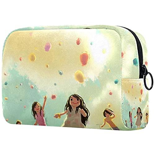 Luftballons Wallpaper, Damen DIY Make-up Taschen Kosmetiktasche Reisetasche für Geldbörse Inspirierende Geschenke für Freunde Frau Mitarbeiter