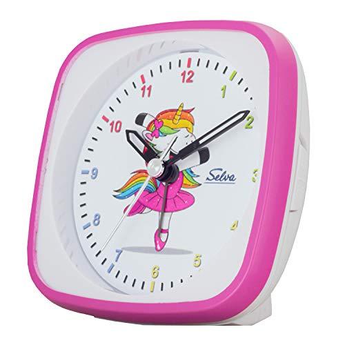 SELVA Quarzwecker Einhorn-Ballerina, perfekt zur Einschulung pink/Weiss. Schleichende Sekunde lautlos, analog, für Kinder, buntes Zifferblatt mit Licht / Weckwiederholung. Maße: 95 x 95 x 45 mm