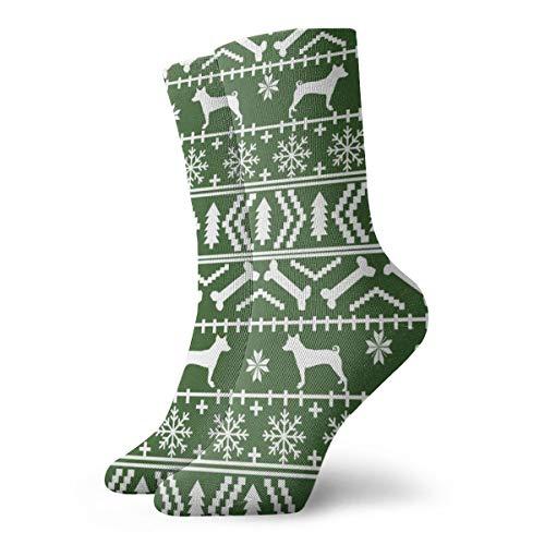Basenji Fair Isle Weihnachts-Silhouette Hund grün Neuheit Mode Crew Socken Unisex Sportsocken Walking Athletic Socken
