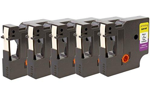 Printing Saver 5x D1 45010 S0720500 Nero su Trasparente 12 mm x 7 m Nastro per Etichette compatibile per DYMO LabelManager LM 160 200 210D 280 360D 420P 500TS PnP LabelWriter 450 Duo Etichettatrici