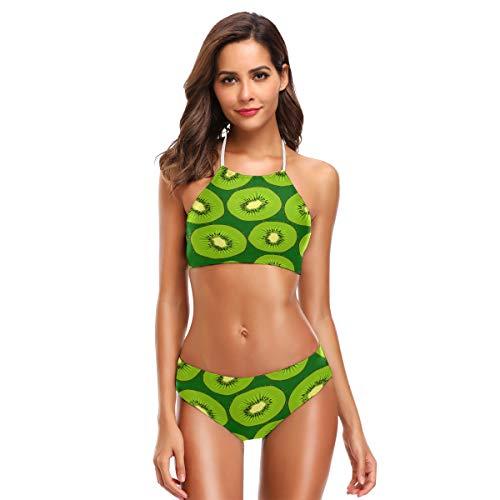 ZZKKO Kiwifruit Bikini Badpak Womens High Neck Halter Twee Stuk Badpak