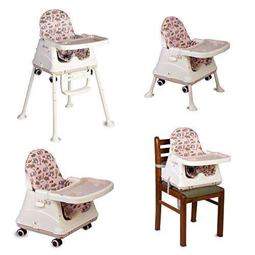 LuvLap 4in1 High Chair for Baby/Kids, Toddler Feeding Booster Seat with Wheels, 3 Height adjustments, with Cushion, 6 Month to 3 Years, Portable (Pink)