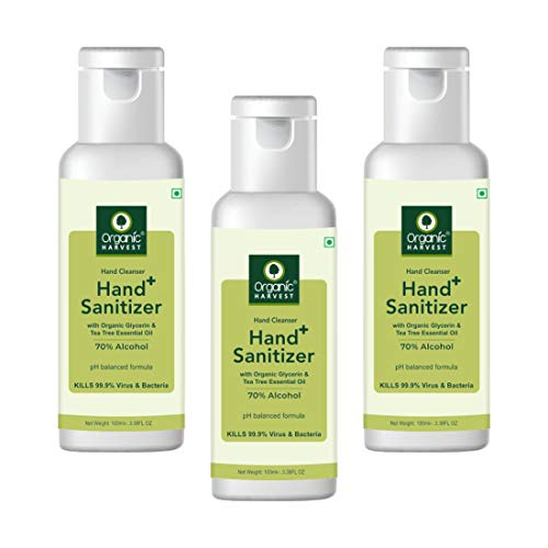 Organic Harvest Instant Gel Based Hand Sanitizer & Hand Cleanser with Organic Glycerin & Tea Tree Essential Oil, 70% Alcohol, Kills 99.9% Germs, 100ml (Pack of 3)