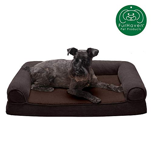 Furhaven Pet Dog Bed - Orthopedic Faux Fleece & Chenille Soft Woven Traditional Sofa-Style Living Room Couch Pet Bed w/ Removable Cover for Dogs & Cats, Coffee, Medium