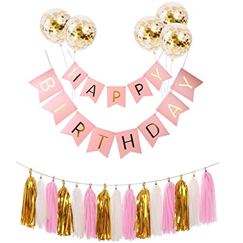 Nuluxi Tassel Garland Banner Confetti Balloon Balloon Shiny Gold Letters Happy Birthday Banner Gold Latex Confetti Sequin Balloon for Birthday Wedding Party Ceremonies Supplies Decorations (Pink)