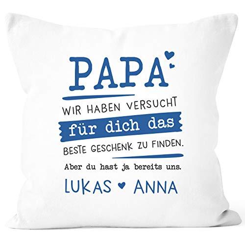 SpecialMe® Kissen-Bezug personalisiertes Geschenk Spruch Papa/Mama wir Habe versucht Finden anpassbare Namen Dekokissen Papa 2 weiß Unisize