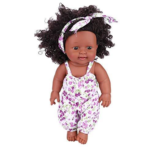 Weiche Babypuppe Künstliche Neugeborene Babypuppen Vinyl Lebensechte Ganzkörper Reborn Puppe Interaktive Spiele Spielzeug für Kleinkind Jungen Mädchen Geburtstagsgeschenk (Purple Lavender Jumpsuit)