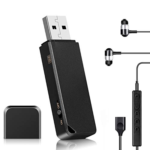 32GB USB Voice Recorder, Vandlion Digital Audio Recorder with Playback Earphone, Compatible with Type-C and Micro USB, 375 Hours Capacity and 20 Hours Battery Voice Activated Recorder –Rechargeable