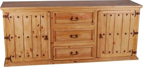 MiaMöbel Sideboard Mexico Möbel 205x88x52 cm Landhausstil Massivholz Pinie Honig