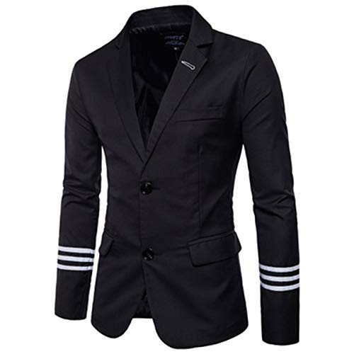 Mr.BaoLong&Miss.GO Men Suits Men Suit Jackets with Striped Sleeves Men Casual Suits Single Row Two Button Solid Color Suits Black