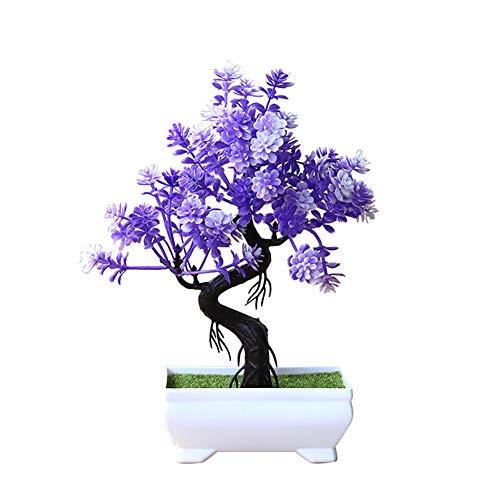 Ammzzoo111 Artificial Lifelike Green Plants Decoration, Artificial Potted Tree Bonsai Simulation Plant Home Decor Table Centerpieces - Purple