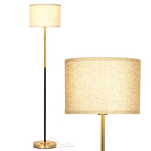 Brightech Emery - Mid Century Modern Floor Lamp for Bedroom Reading - Brighten Living Room Corners with A Free Standing Light - Tall Office Lighting with Drum Shade & Brass Finish
