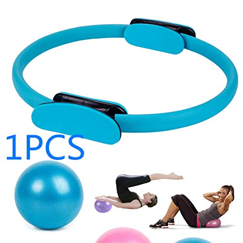 SIWEI - Anillo de pilates y mini pelota de yoga de 25 cm, círculo mágico, pelota de pilates, entrenamiento corporal, fitness, ejercicio, fuerza de yoga, para entrenamiento de adelgazamiento en interiores, RB22U20LQ37377, Azul (1 anillo y 1 bola).