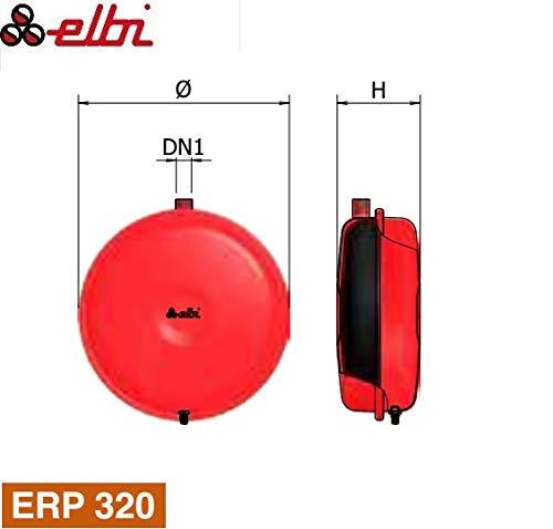 Elbi 1120408ERP 320/12, Vaso de expansión para calentamiento plano, rojo, 16.5 h x 32 x 32 cm