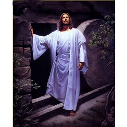 LLXHGNeujahrsgeschenk Schöne Religiöse Figur Gemälde Auf Leinwand Christus Jesus Auferstehung Christi In Der Nacht Wanddekoration Kunst-60X90Cm Kein Rahmen