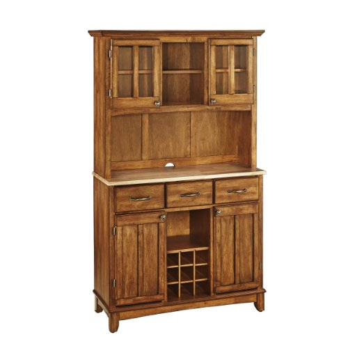 Home Styles Buffet of Buffets Cottage Oak Server with Natural Wood Top, Three Utility Drawers, Two Door Hutch, Removable Wine Rack, and Brushed Steel Hardware