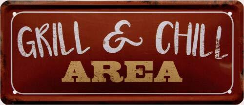 Grill & Chill Area 28x12 Deko Blechschild 1954