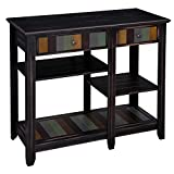 VASAGLE Microwave Cart with Drawer, Kitchen Baker's Rack with Colorful Storage Shelf, Microwave Oven Stand, Solid Wood Legs, Rustic Style, Country Brown for Living Room Kitchen UKKC03GL
