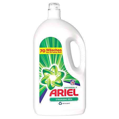 Ariel Waschmittel Flüssig, Flüssigwaschmittel, 70 Waschladungen, Universal Strahlend Rein (3.85 L)