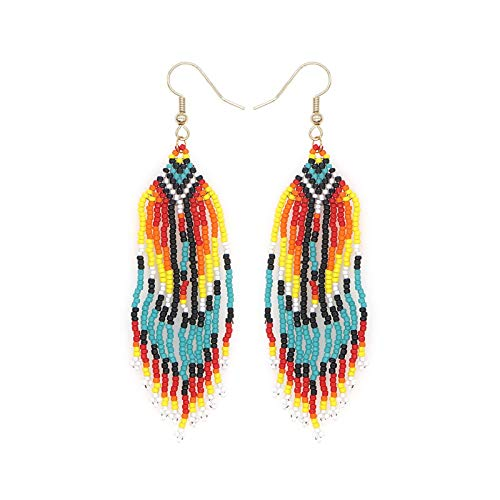 BSbattle African Dangle Earrings Native Tassel American Earring For Women Jewelry Handmade Beads Jewellery Beaded Ear Ring Ladies-MG-E200038A