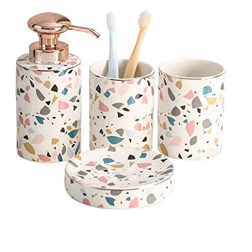 Peakpet Bad Set Stilvolles 4-Teiliges Badezimmer Set Keramik Badzubehör Set Seifenspender/Lotionspender Seifenschale und 2 Zahnputzbecher