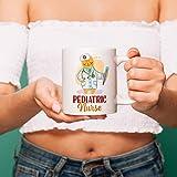 DKISEE Pediatric Nurse Kawaii Cat Coffee Mug Medical Kitten Feline Lover Gift Mug Gifts for Kawaii and Cat Lovers Cat Nurse Mug 11oz