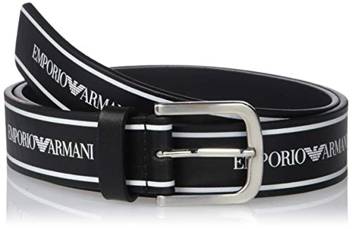 Emporio Armani Damen Black and White Leather Printed Tape Logo Belt Gürtel, schwarz/weiß, 85