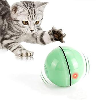 Jouet pour Chat, Balle de Jouets avec lumière LED, Rotation Automatique à 360 Degrés et Chargement USB Jouet Interactif pour Chat, pour Animaux Chien Chatons (Vert Clair)