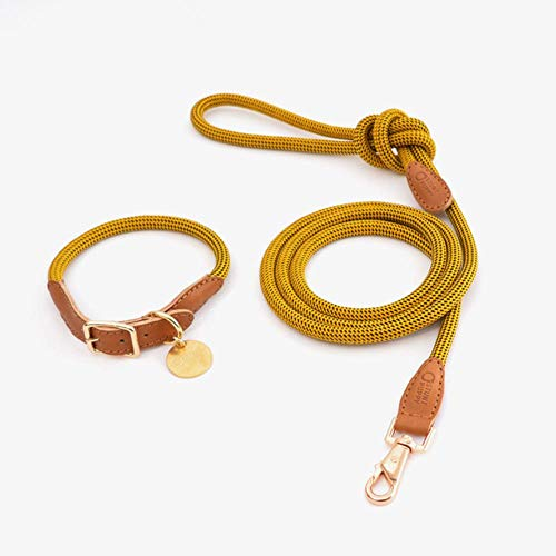 K-ONE Stunt Welpe Kuh Leder Kletterseil Hundehalsband Leine Große kleine Hunde Haustier Sicherheitsgurt handgenäht Hochwertiges Halsband, Gelb, M.