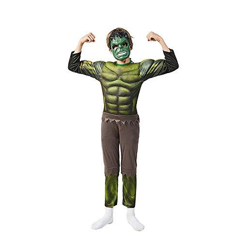 WEIR Kinder Hulk Cosplay Kostüm Jungen 3D Anime Superheld Halloween Party Jumpsuit Kostüm Party Bodysuit Anzug,Hulk-120~130cm