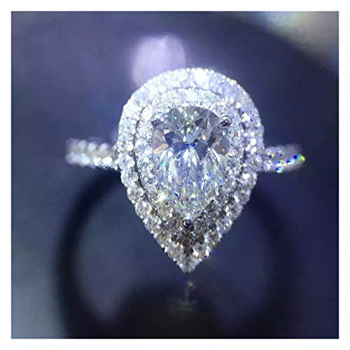 XYBH Anillo de plata de ley 925 con 40 estilos impecables, anillo de compromiso para mujer (color de gema: estilo 14, tamaño del anillo: 7)