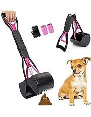 HebyTinco Recogedor de Caca para Perros, 60cm Recogedor Excrementos Perro con Bolsas de Basura, Plegable Recoge Cacas de Perros de Mango Largo para Gatos y Perros al Aire Libre Interior