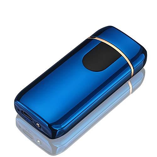 STKJ Oplaadbare aansteker Touch Ontsteking USB Opladen Windproof Plasma Aansteker voor Kaars, Sigaret Power Indicator Vlamloos, Blauw, 1 stks