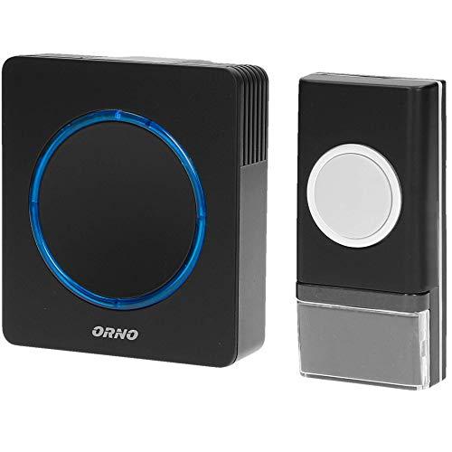ORNO Opera DC Sonnette de porte sans fil pour l'extérieur, étanche avec contrôle du volume et portée de 100m -- 36 sonneries -- sonnette de porte sans fil