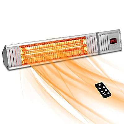 Patio Heater - Outdoor Heater w/3s-Fast Heating & Remote Control, Electric Patio Heater w/24H Timer Auto Shut Off, Super Quiet Wall-Mounted Space Heater for Large Room, Garage, Backyard, Office, 1500W