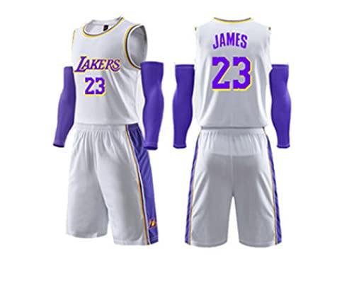 Nealpar Lakers James 23 City Edition Traje de Uniforme de Baloncesto Camisa de Verano para Hombre Chaleco de Uniforme de Equipo de Competición,White,XL