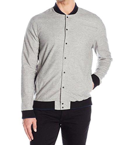 Kenneth Cole REACTION Men's Rib Trim Shirt Jacket, Heather Grey Combo, Large