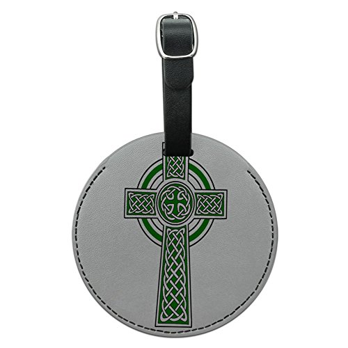 Graphics & More Celtic Christian Cross Irish Ireland Round Leather Luggage Id Tag Suitcase, Black